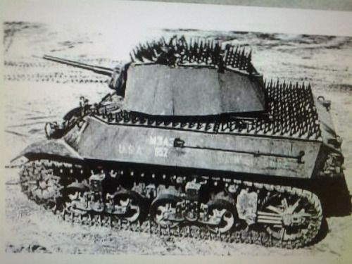"""gruene-teufel:  artyrambles:  bmashina:    Light tank M3 """"Stuart"""" in the experimental protection from infantry, 1944.    Punk phase  This is bullshit because your friendly infantry can't hitch a ride"""