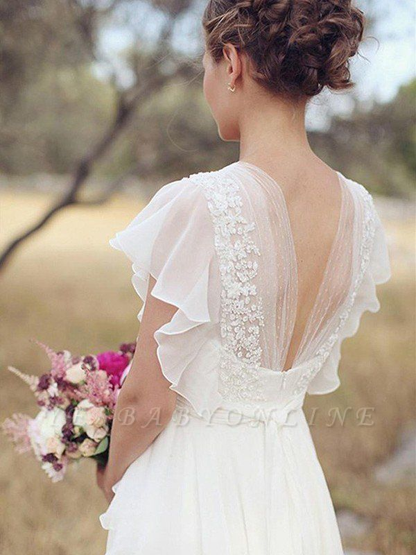 Charming Ruched Floor Length V Neck Short Sleeves Chiffon Wedding Dresses Wedding Dresses Lace Ball Gown Wedding Dress Wedding Dress Chiffon