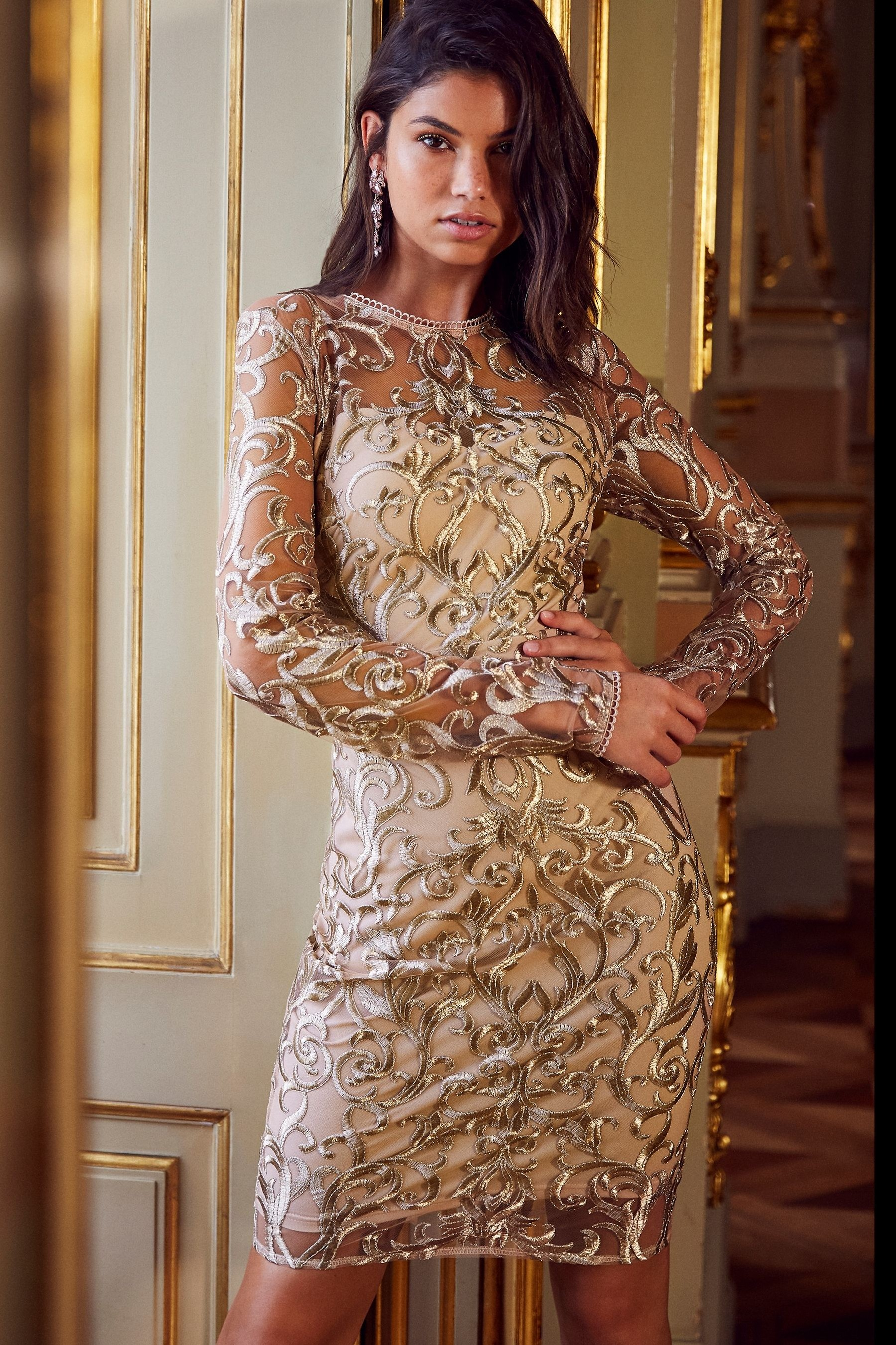 03213674622aae Womens Lipsy Long Sleeve Embroidered Bodycon Dress - Gold | Products ...
