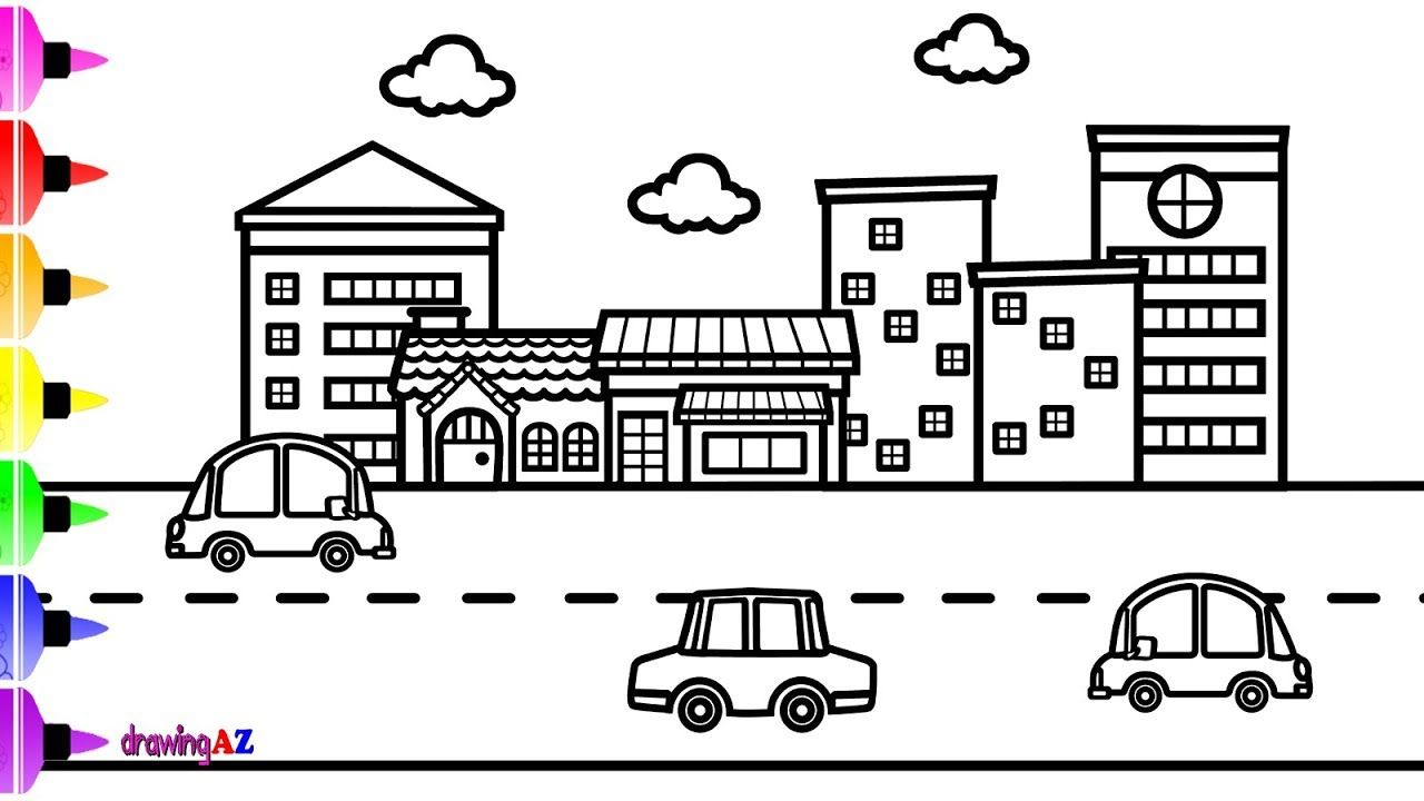 How To Draw Cityscape For Kids Coloring Page For Kids With Colored Marker Coloring For Kids Coloring Pages For Kids Coloring Pages