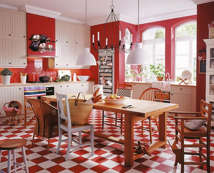 Rot Weiße Küche Im Country Style