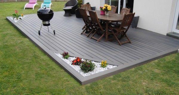 revêtement terrasse en lino, sol recouvert de galets blancs et