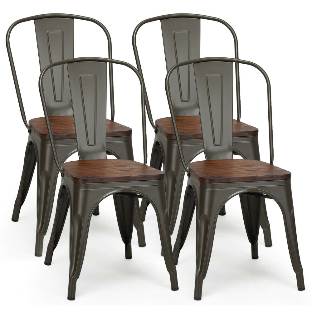 Costway Set of 4 Style Metal Dining Side Chair Wood Seat