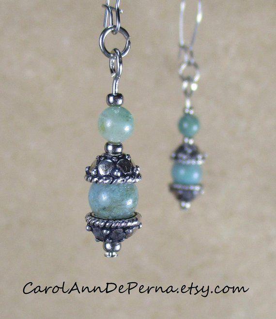 ef13bef80 dangle drop earrings handmade beaded earrings sterling silverbeads jade  beads 925 Bali sterling sil
