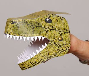 Tyrannosaurus Rex finished model dino paper hand puppets, t-rex, pterosaur and styracosaurus
