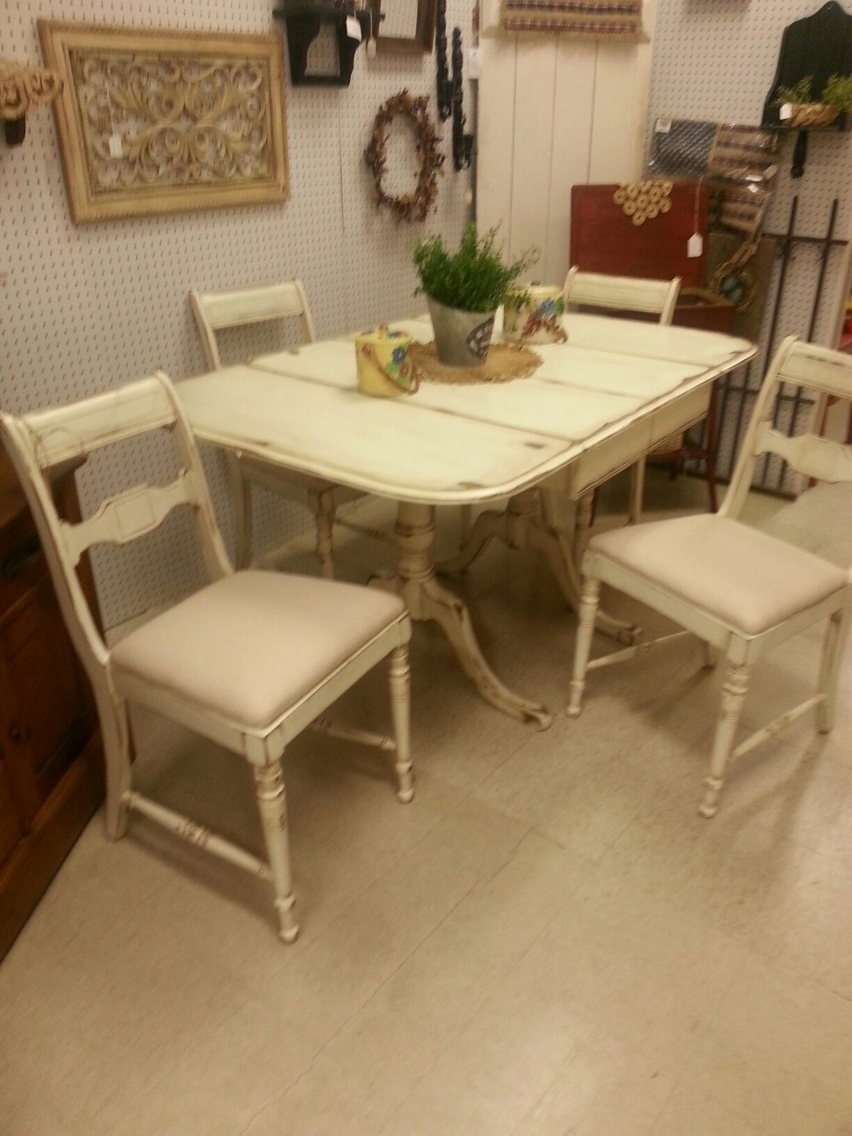 Vintage table and chairs in Annie Sloan Old White paint with clear and dark wax.