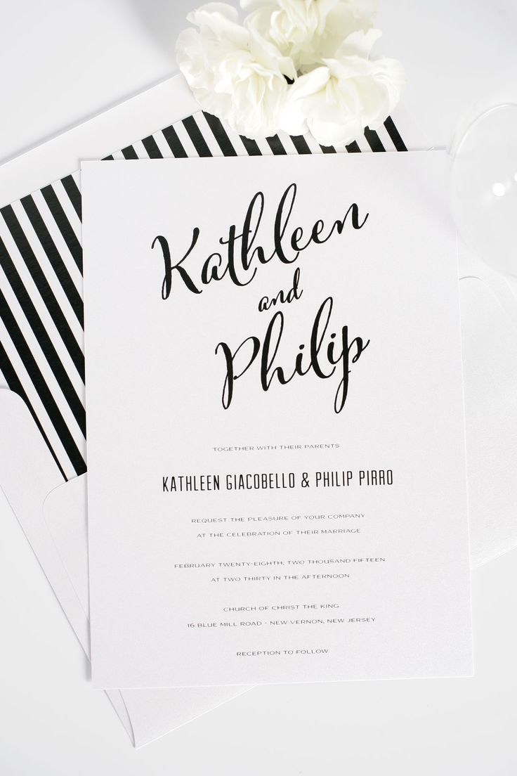 Modern, romantic and classic black and white striped calligraphy ...