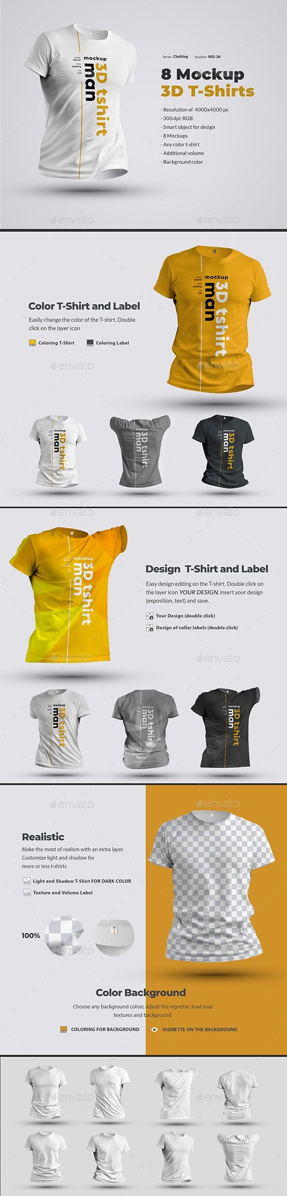 Download 8 Mockups T Shirts 3d Man In 2020 Clothing Mockup 3d T Shirts Shirt Mockup