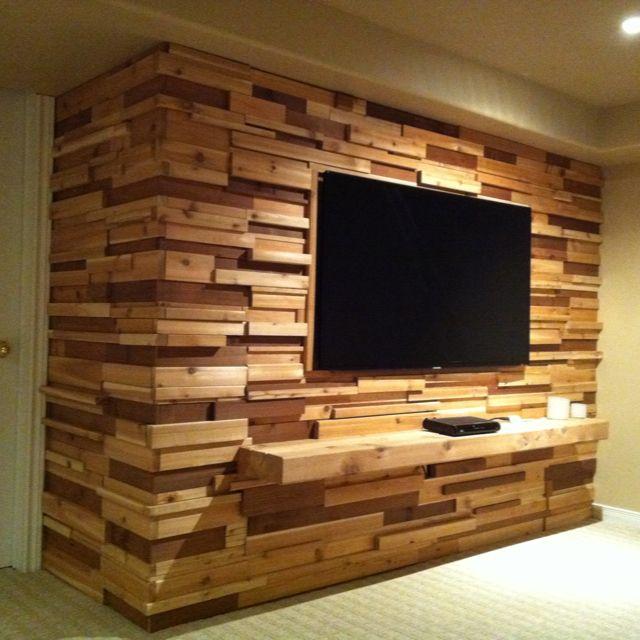 Tv Accent Wall Done In Cedar Cedar Walls Basement Walls