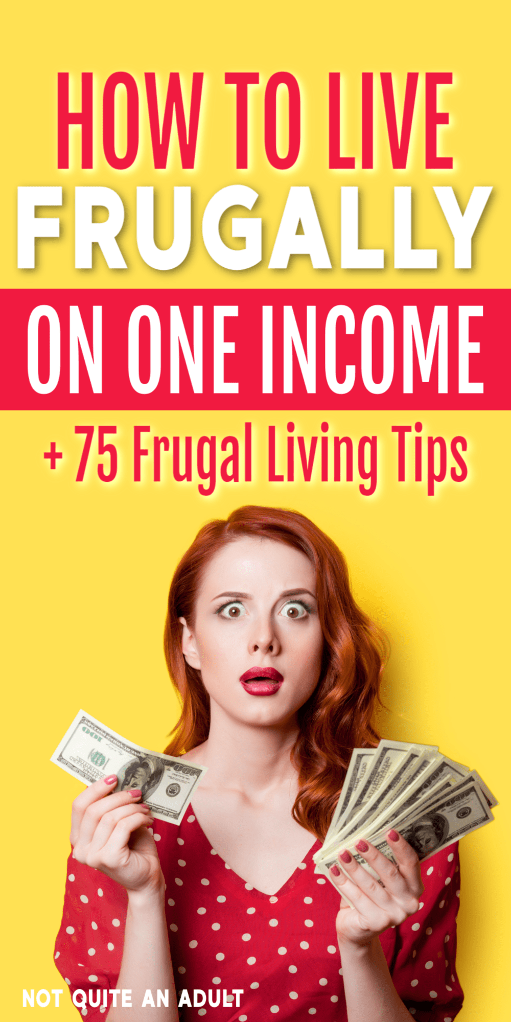 are you struggling to live on a single income? being more frugal could be the answer #frugalliving here is how to live frugally on one income plus 75 useful frugal living tips that can help you save money #save #savemoney