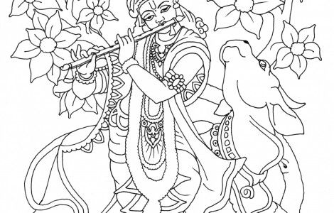 Krishna Playing Flute Coloring Page Coloring Pages Tanjore