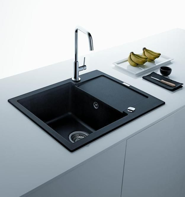 Black Kitchen Sinks Countertops And Faucets 25 Ideas Adding Black Accents To Modern Kitchens Black Kitchen Sink Black Kitchens Modern Black Kitchen
