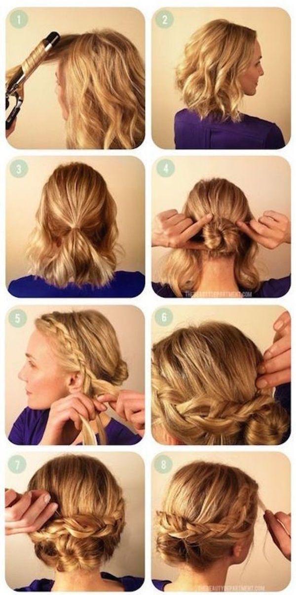 4 Tutos De Coiffures Tressees Pour Les Cheveux Courts Tutoriel Coiffure Cheveux Courts Coiffure Cheveux Mi Long Coiffures Simples