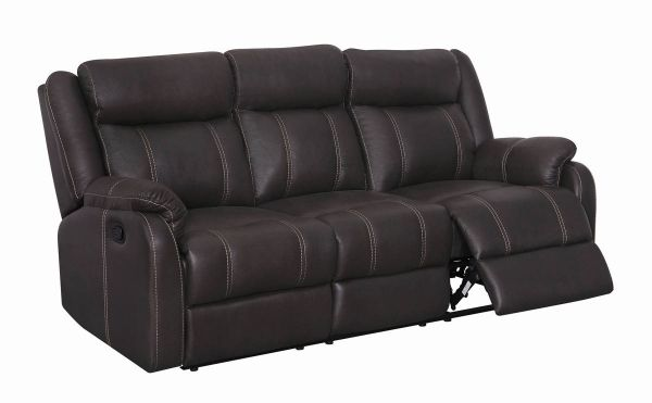 Sectional Sofas Gin Rummy Charcoal Printed Microfiber Reclining Sofa W Dropdown Table
