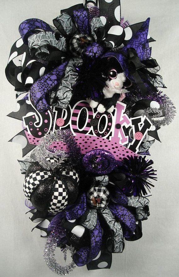 Spooky Mesh Swag, Spooky Mesh Wreath, Kitten Mesh Swag, Halloween