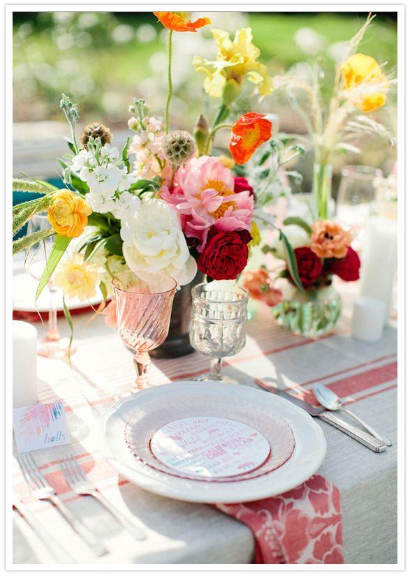 summery floral arrangements & Casa de Perrin china pretty party