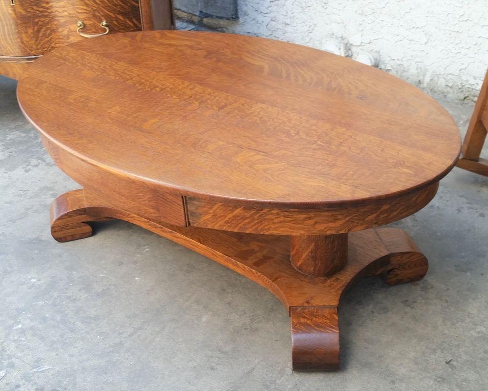 Antique American Tiger Oak Oval Coffee Table 1890 S 1900 S Los Angeles Area Oval Coffee Tables Coffee Table Tiger Oak [ 801 x 1000 Pixel ]