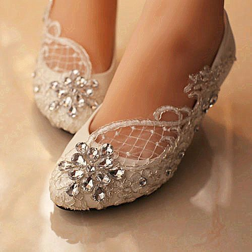 af35690d0d Details about su.cheny Lace white ivory crystal flats low high heel ...