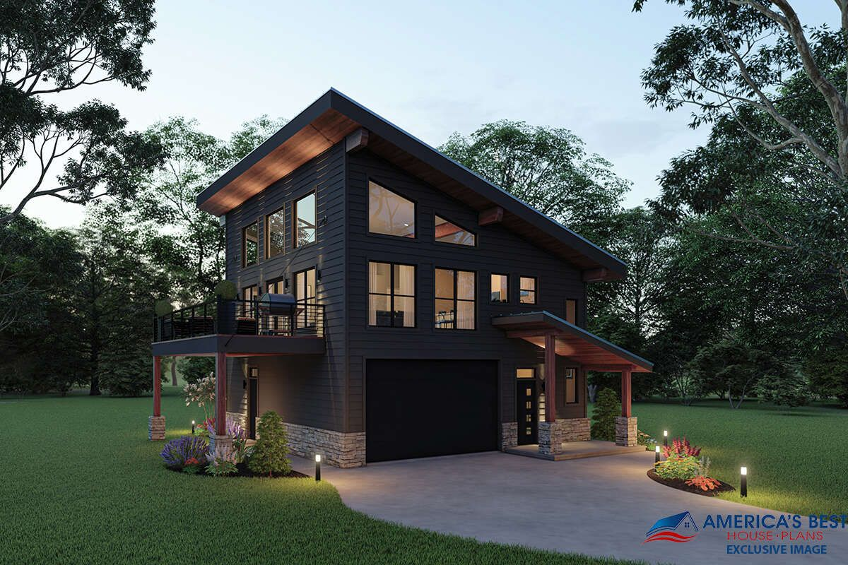 House Plan 940 00233 Modern Plan 1 559 Square Feet 2 Bedrooms 2 Bathrooms Small House Design Plans Modern Style House Plans Mountain Home Exterior