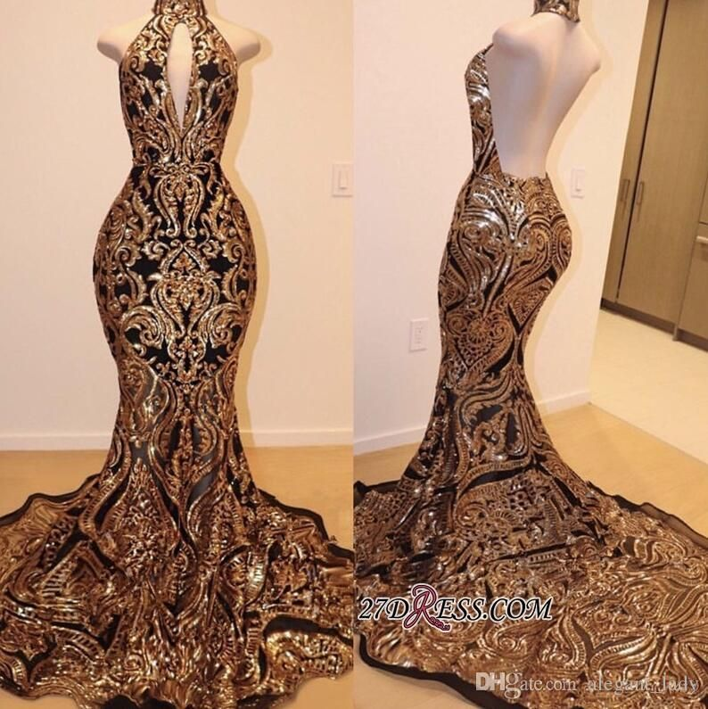 Gorgeous Gold and Black Sparkly Prom Dresses 2019 Hign Neck