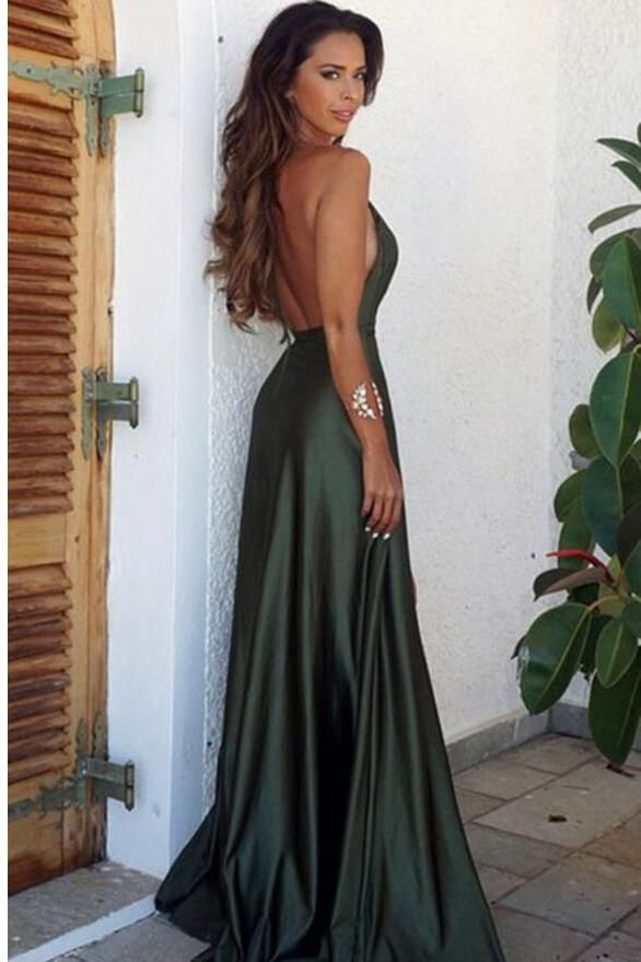 Elegant Simple Sexy Backless High Split Long V-Neck Open Back Green ... a61ecde7d77a