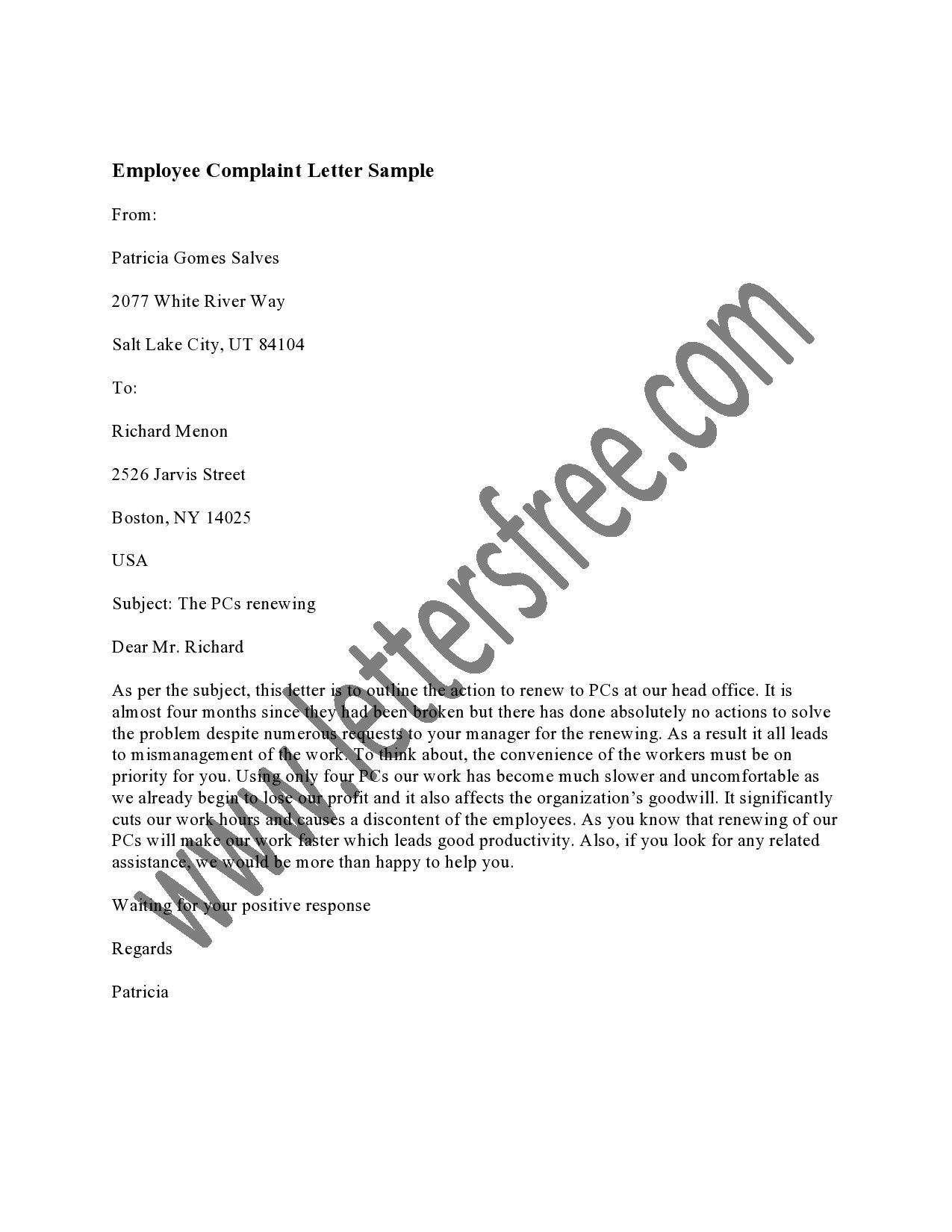 An employee complaint letter is a way for employees to make a formal letter of complaint sample formal letter of complaint template cover letter sample 10 business complaint letter templates free sample example aljukfo Images