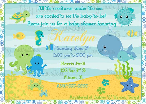 Printable Under The Sea Baby Shower Invitation Plus Free Thank You Card