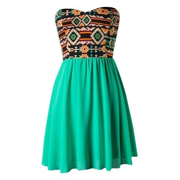 Jade Tribal Dress (€26) ❤ liked on Polyvore featuring dresses, vestidos, short dresses, robes, mini dress, green dress, jade dresses, tribal dress and short green dress