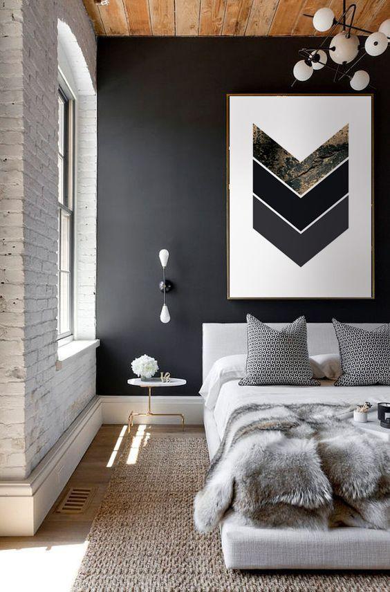 Scandinavian Gold Concrete Black Gray Geometric Pattern Nordic Gold Gray Black Dark Geometric Pattern Boho Bedroom Interior Bedroom Design Home Decor