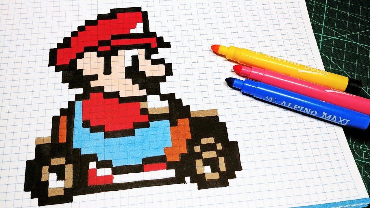 Pixel Art Hecho A Mano Cómo Dibujar A Mario Kart Mario