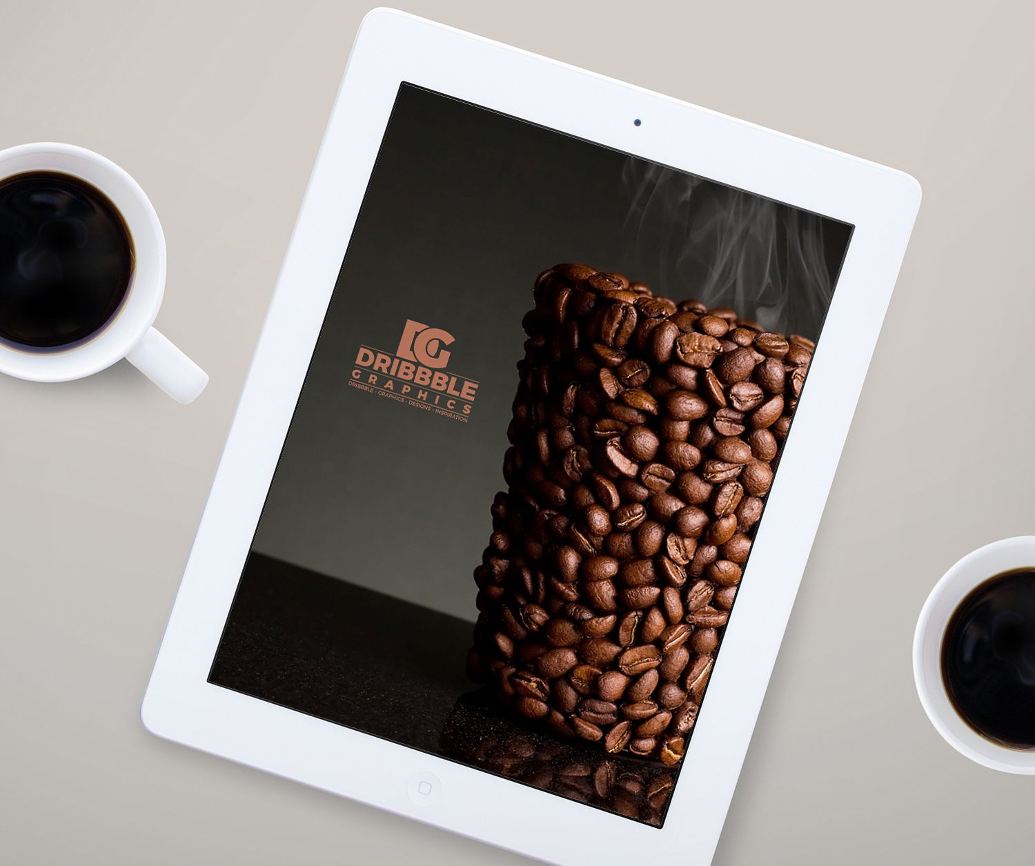 Free Ipad Mock Up With Coffee Cup Psd 7 35 Mb Dribbble Graphics Free Photoshop Mockup Psd Apple Ipad Coffee Ipad Mockup Free Ipad Mockup Templates