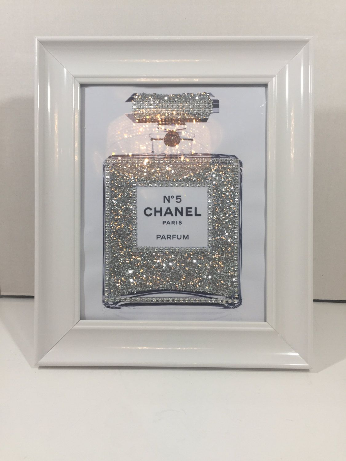 framed chanel art perfume bottle print blinged up in silver glitter and crystals white glossy frame