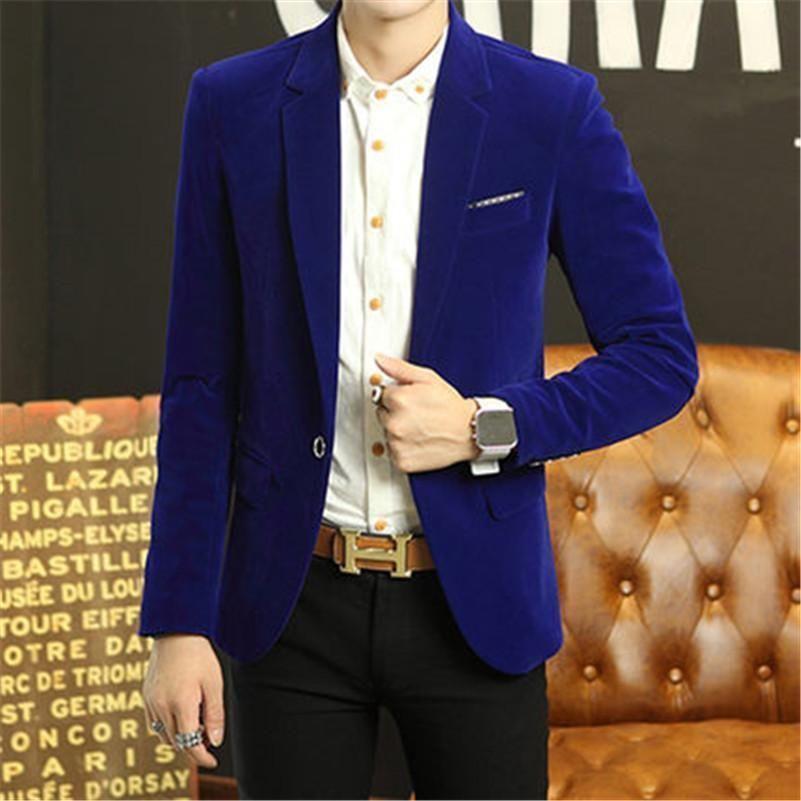 1160d60ecc8 Men s Royal Blue Velvet Wedding Party Wear Jacket Fashion Designer Blazer  Coat