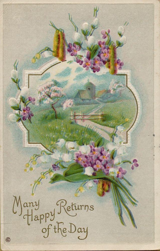 Vtg Birthday Flowers Greetings Postcard Victorian Embossed #Birthday