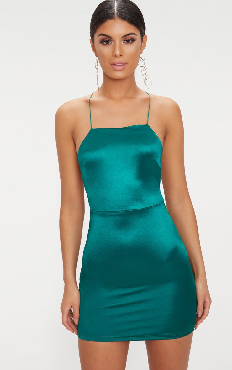 33d622d8626 Emerald green High Neck Strappy Back Bodycon Dress in 2019