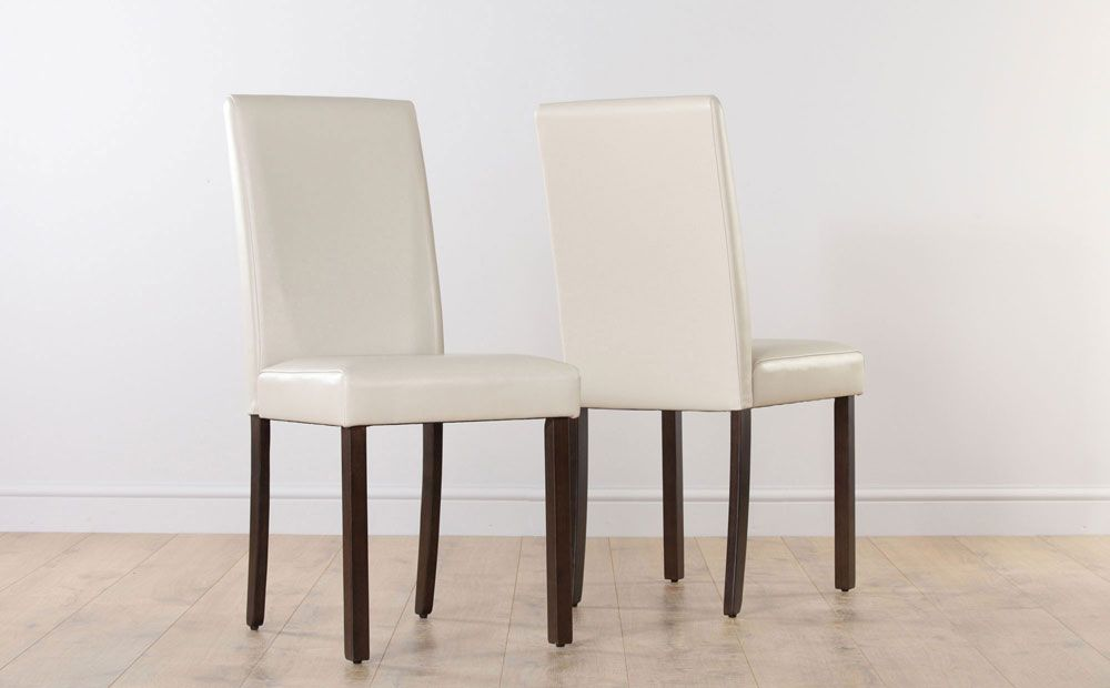 City Ivory Leather Dining Chair Wenge Leg  Dining Room Classy Ivory Leather Dining Room Chairs Design Decoration