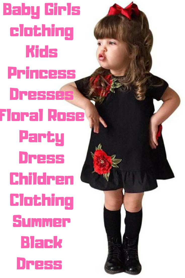 986de07fce9 Baby Girls clothing Kids Princess Dresses Floral Rose Party Dress Children  Clothing Summer Black Dress Toddler