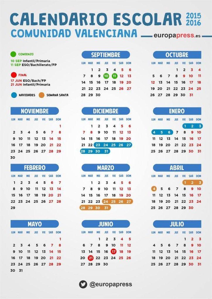Valencia Calendar.Valencia School Calendar Sp La Vida Escolar School Calendar