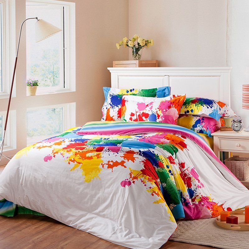 Beautiful Red Green Yellow And Blue Colorful Splatter Paint Trendy Funky Style Unique 100 Cotton Queen Size Bedding Bedspread Bedroom Bedding Sets