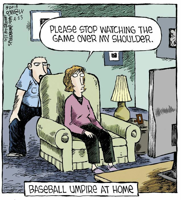 Baseball Umpire At Home Training Baseball Speed Bump Comic