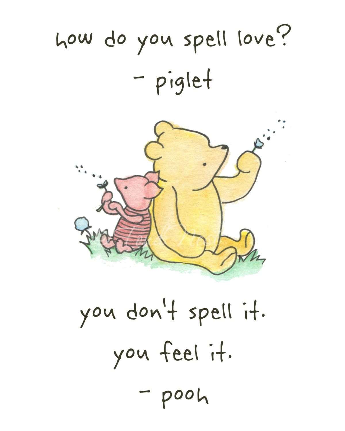 Winnie the Pooh and Piglet Quote Wall Watercolor Painting ...