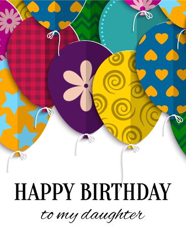 Joyful Birthday Balloon Card For Daughter Birthday Greeting Cards By Davia Daughter Birthday Cards Happy Birthday Cards Free Birthday Card