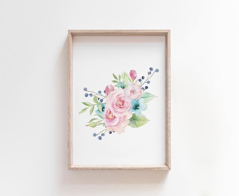 Photo of Stampe floreali acquerello, fiori vivaio arte floreale Decorazioni per bambini, intento Co Design, stanza per ragazze, Bouquet arte stampabile, floreale ghirlanda di fiori