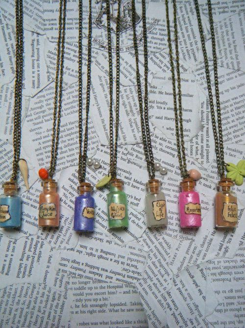 really simple potion necklaces  i need to do this
