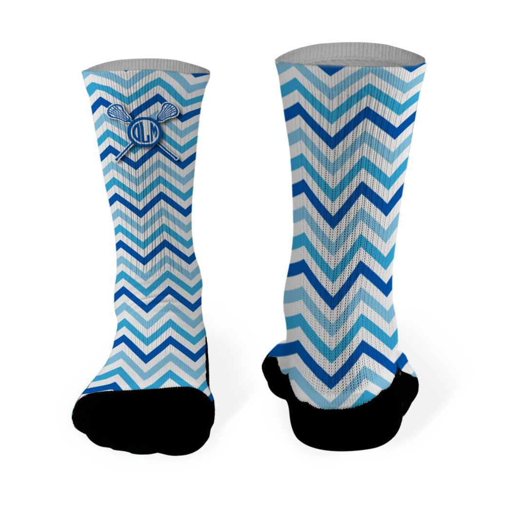 f8280f7fb Girls Lacrosse Printed Mid Calf Socks Personalized Monogram with Crossed  Sticks and Chevron Pattern