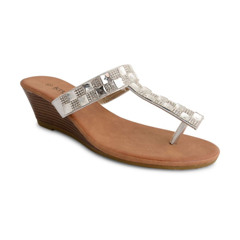 Womens Ladies Silver Diamante Mid Wedge Heel Toe Post Sandals Size 3568  New