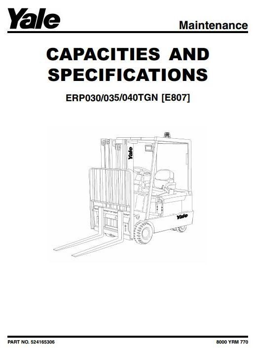 yale forklift truck type e807 erp030tgn, erp035tgn, erp040tgn hoist wiring diagram original factory manuals for yale forklift trucks, contains high quality images, circuit diagrams and instructions to help you to operate