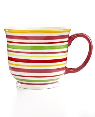 Martha Stewart Collection Poppy Stripe Café au Lait Mug - - Macy's