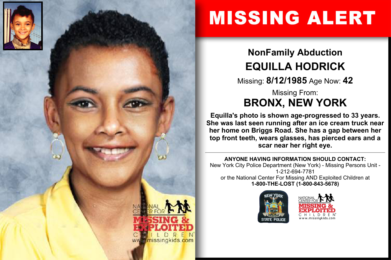 Bronx New York Equilla Hodrick Missing 08 12 1985 Looking For Someone Missing Posters Amber Alert