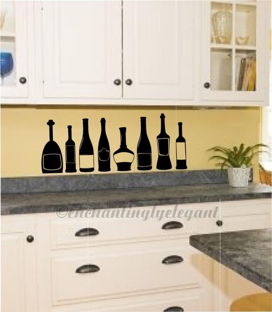 Wine Bottles Kitchen Decor Vinyl Decal Wall Sticker Ebay